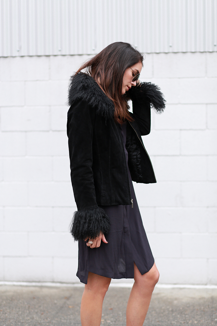 H&M dress, Vintage coat, Zara booties, No Rest For Bridget necklace, Forever 21 rings