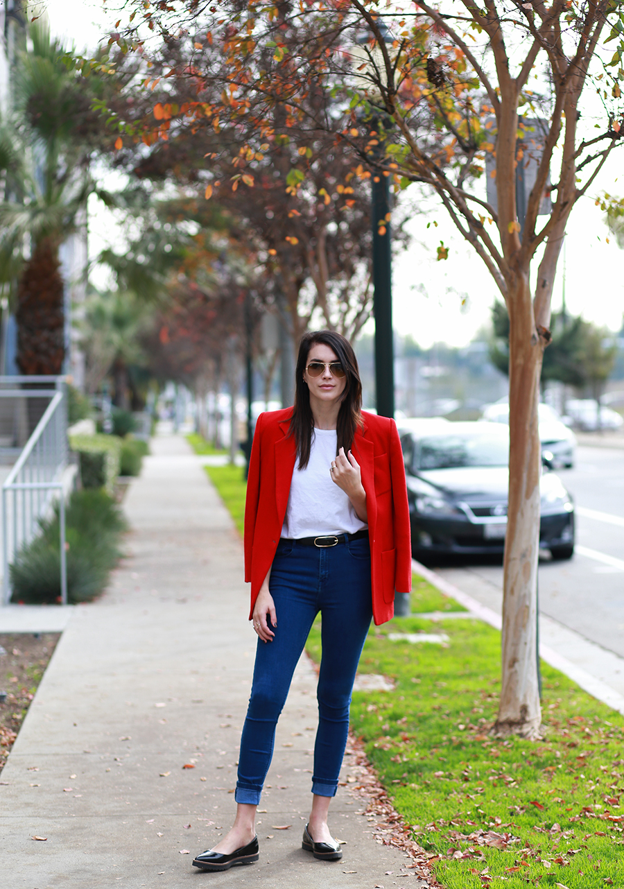 Thrifted blazer, Zara denim, Zara flats, Kelly Bello Design ring