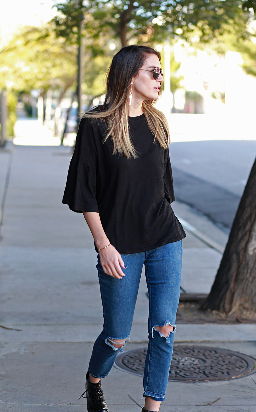 YESSTYLE top, Urban Outfitters jeans, Mango booties, Isharya earrings