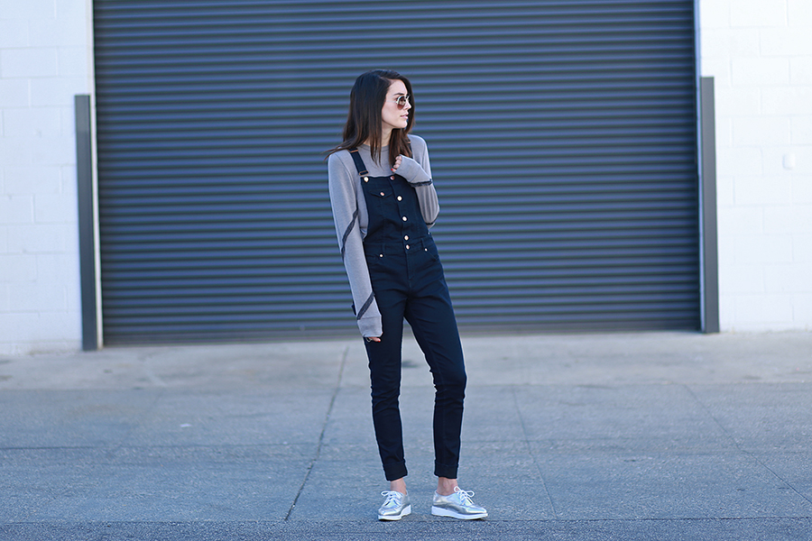 Echo and Air sweatshirt, H&M overalls, ASOS creepers
