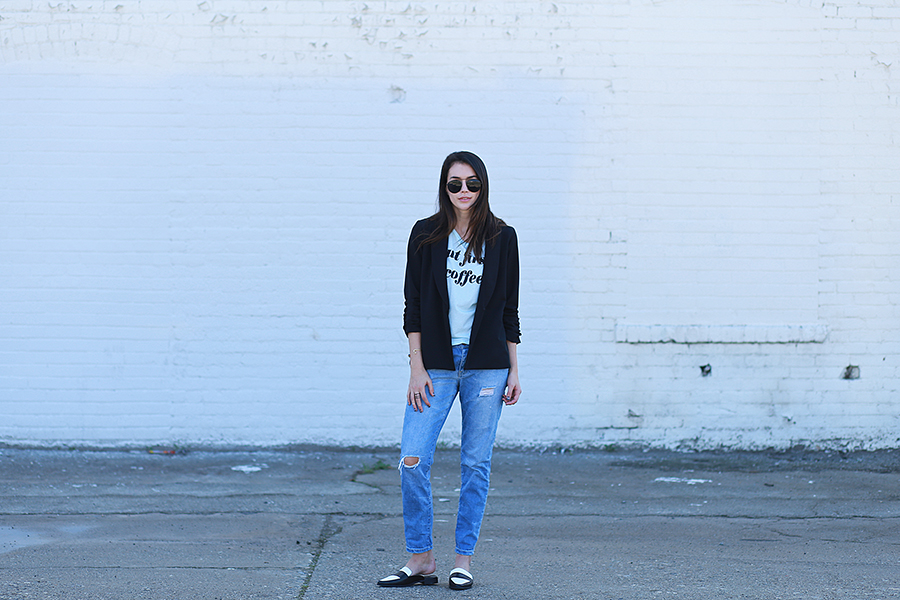 forever21 tee and mules