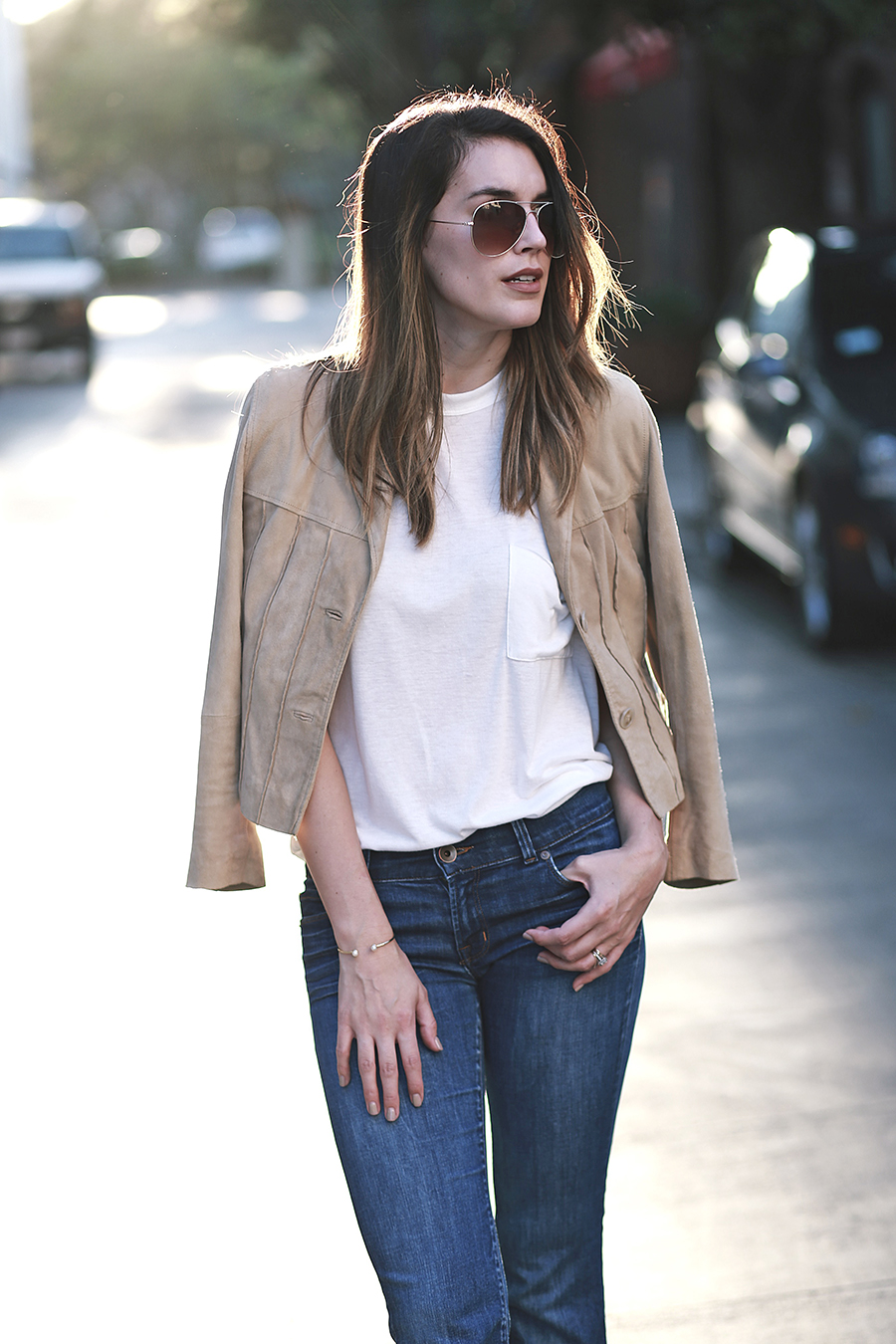 suede jacket denim flares 6
