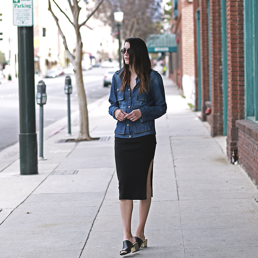 windsor denim jacket forever21 slit skirt zara mules