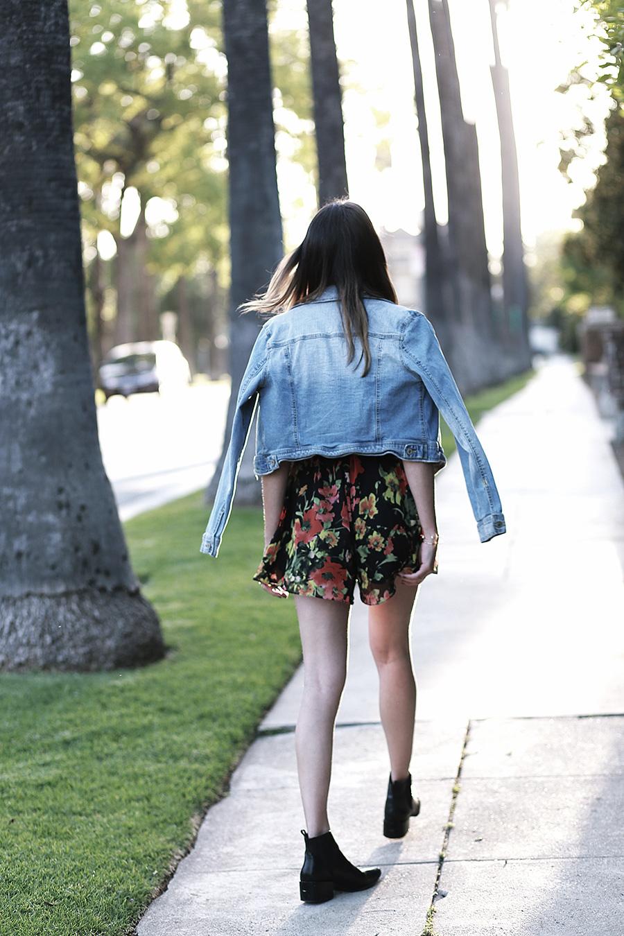 floral romper denim jacket black booties 3