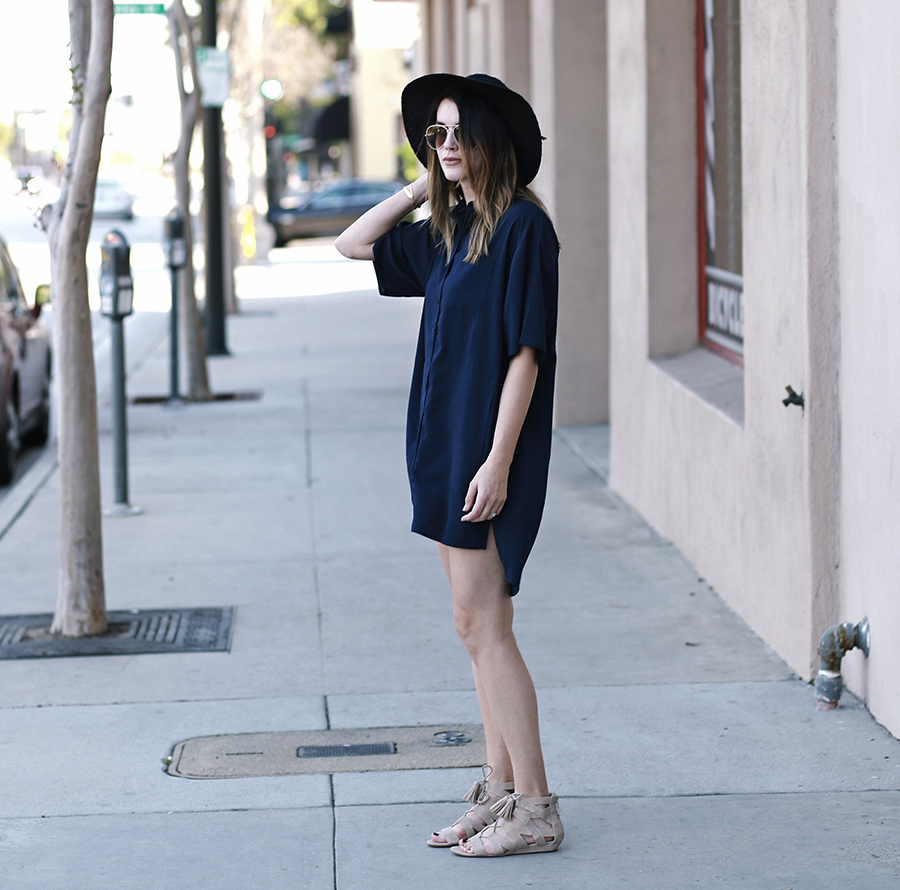 shirt dress gladiator sandals forever 21 hat 3