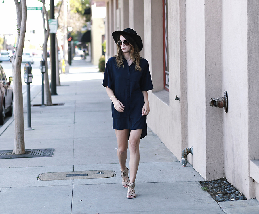 shirt dress gladiator sandals forever 21 hat 5