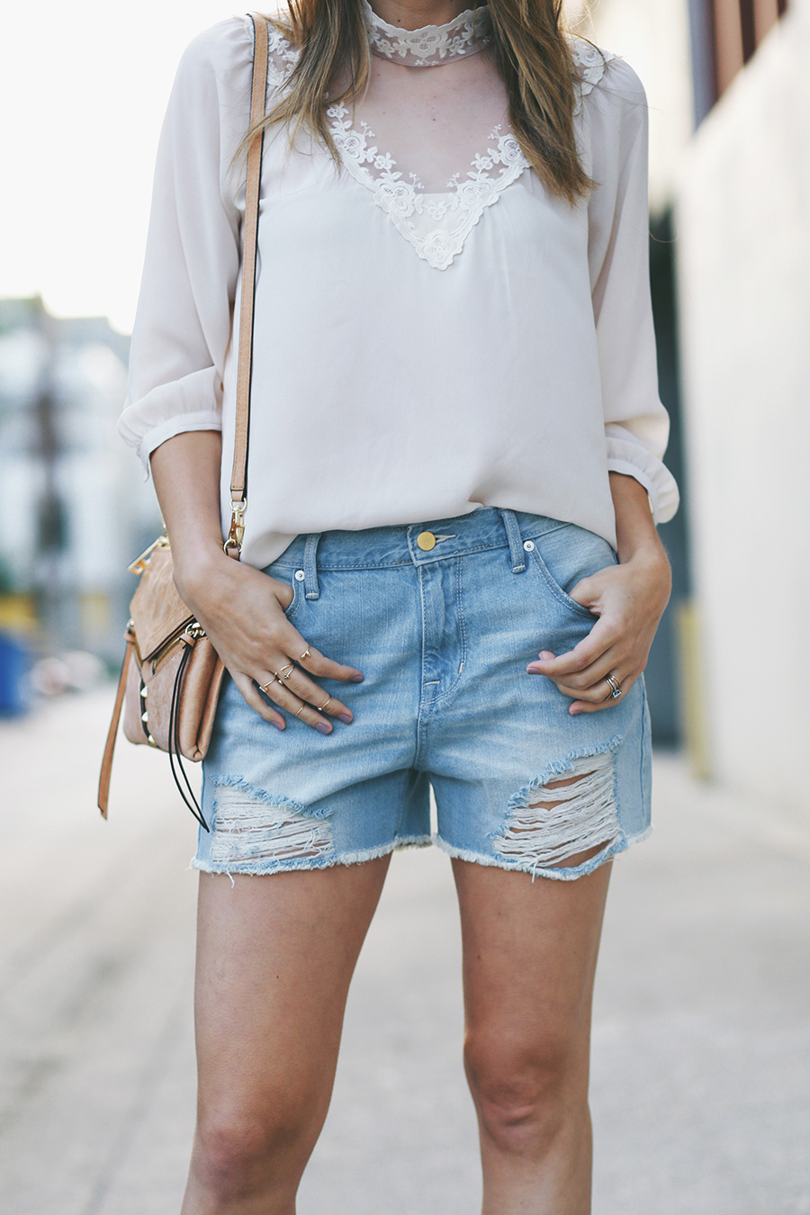 Forever 21 blouse Target shorts Forever 21 sandals PD Paola rings Botkier crossbody 3