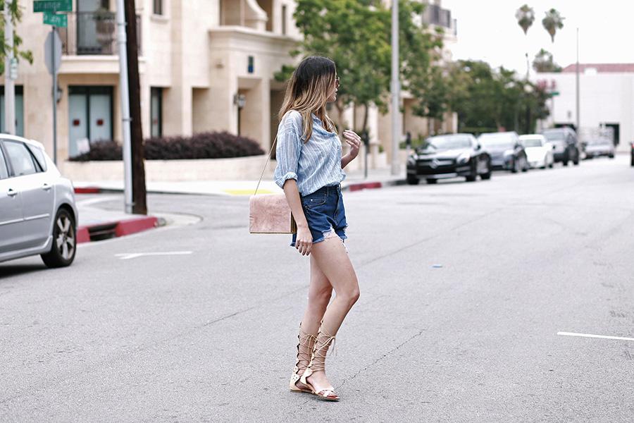 hm top forever21 shorts pixie market sandals ganni handbag 3