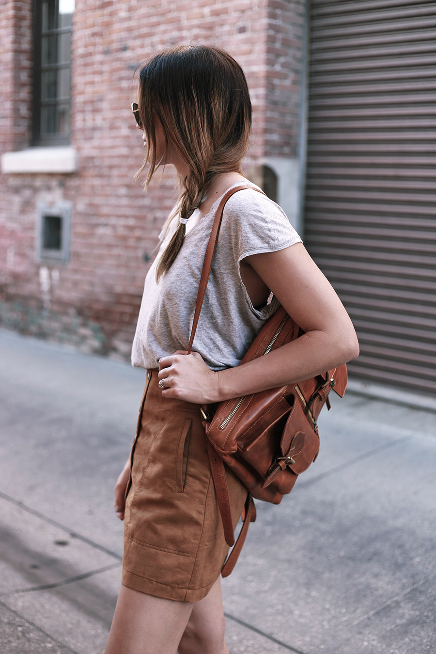 anouk backpack thrifted tee hm suede skirt 1