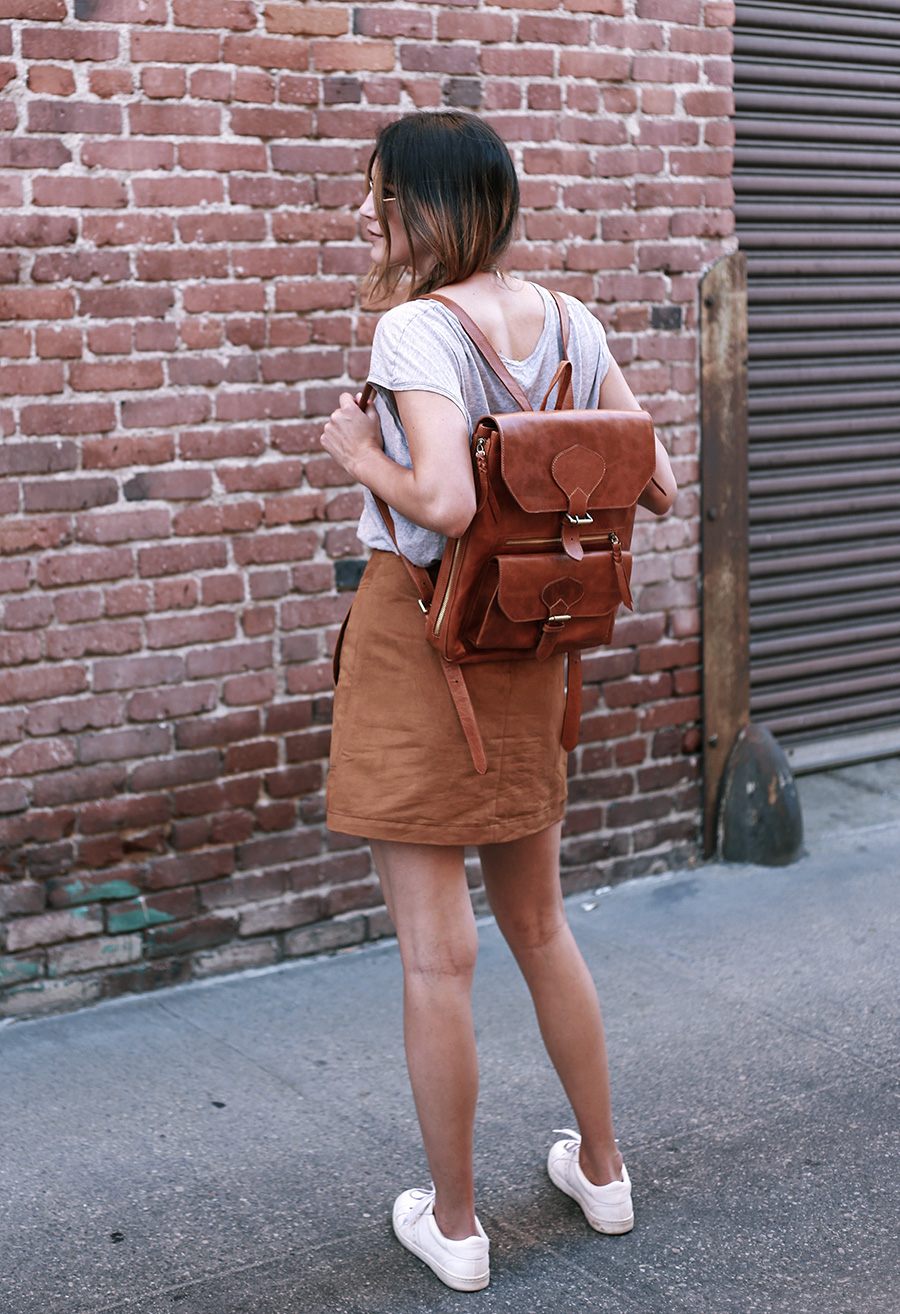 anouk backpack thrifted tee hm suede skirt 3