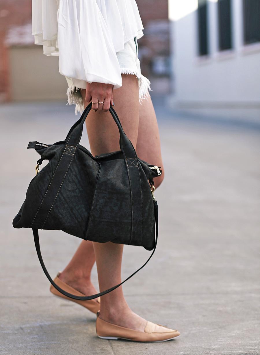 forever21 blouse forever21 shorts jeffrey campbell loafers mari lassa handbag 1