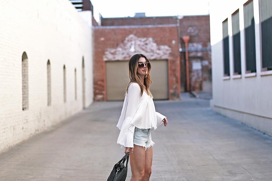 forever21 blouse forever21 shorts jeffrey campbell loafers mari lassa handbag 2