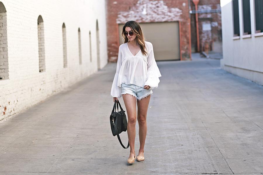 forever21 blouse forever21 shorts jeffrey campbell loafers mari lassa handbag 3