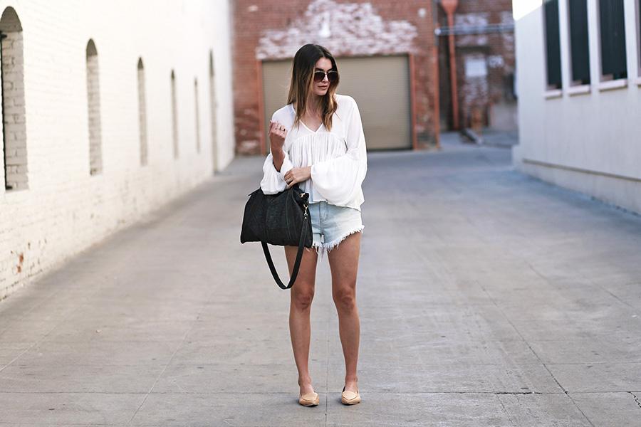 forever21 blouse forever21 shorts jeffrey campbell loafers mari lassa handbag 4