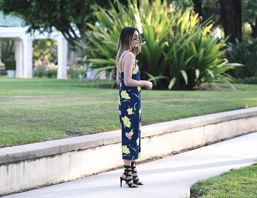 forever21 floral jumpsuit call it spring black heels 7