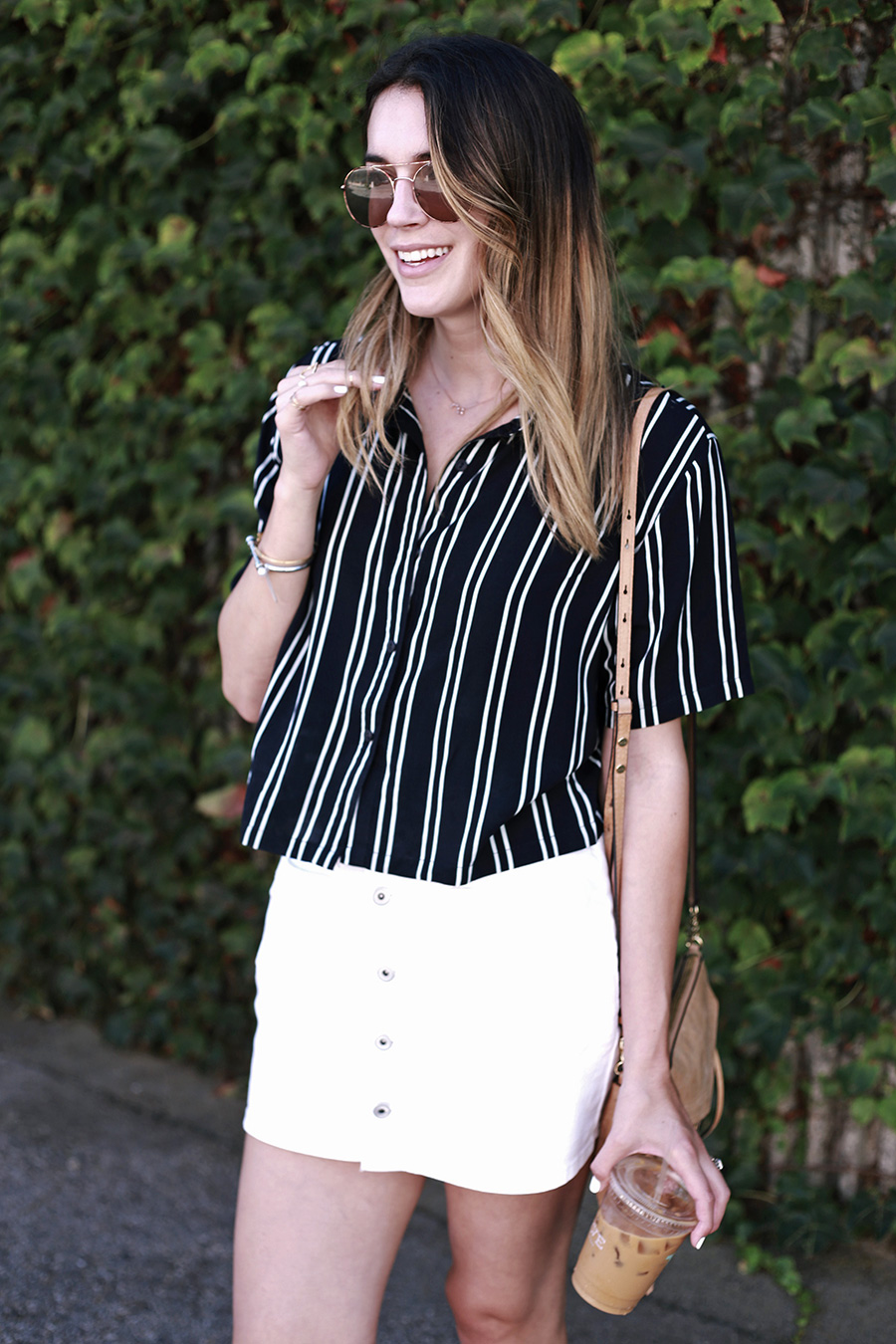 Boohoo white skirt Boohoo striped shirt Verve coffee santa cruz