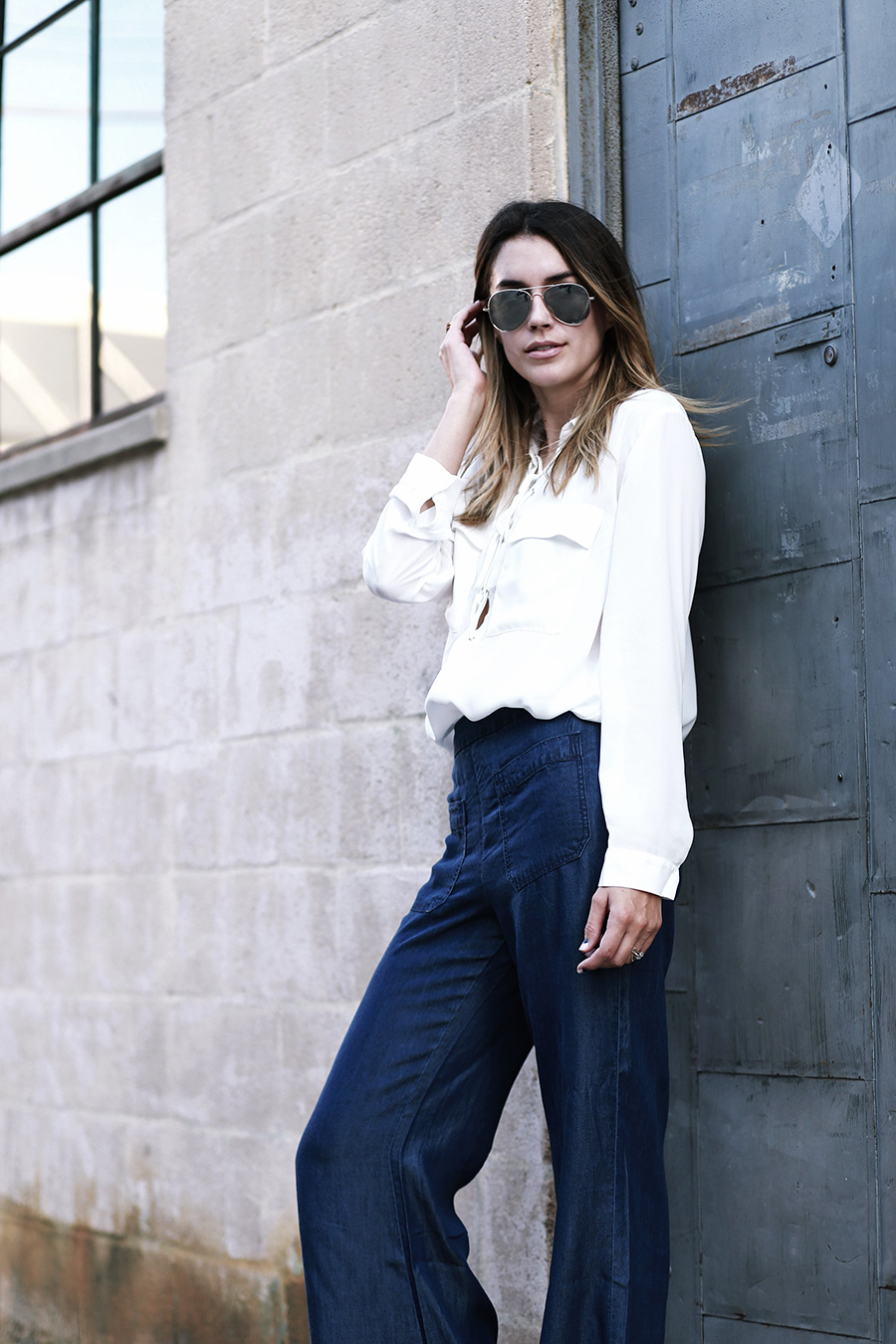 Forever 21 Lace up Blouse Wide Leg Jeans