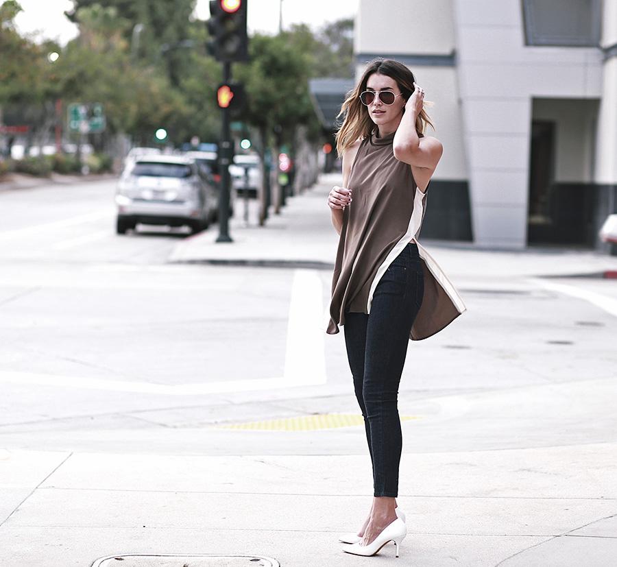 forever21 side slit tunic forever21 denim white heels thrifts and threads  4