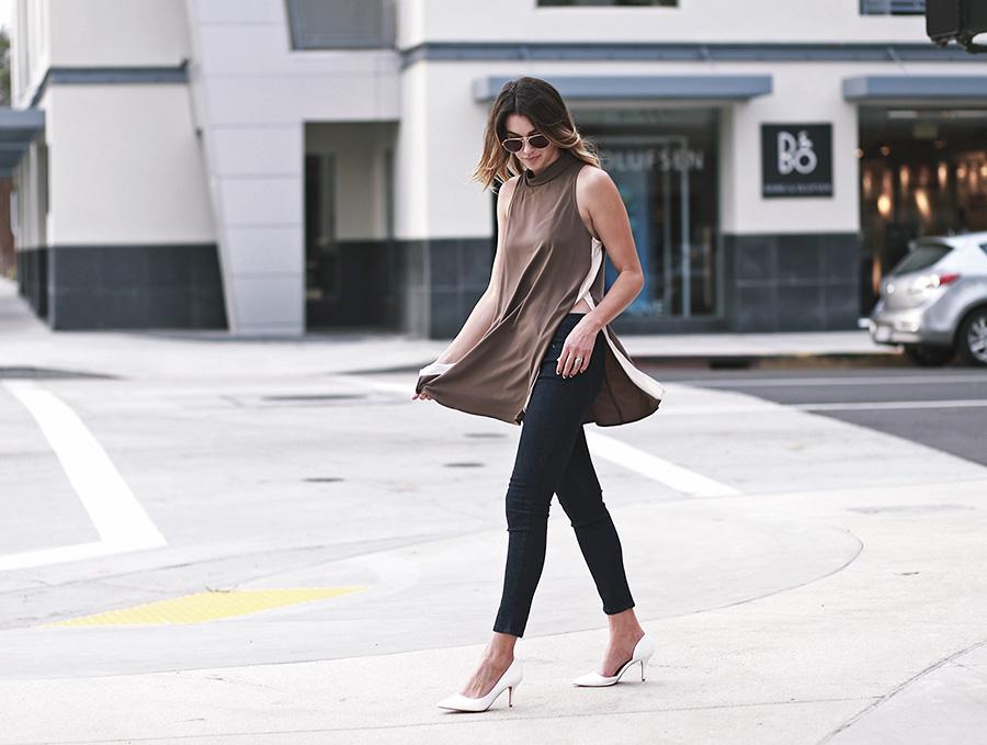 forever21 side slit tunic forever21 denim white heels thrifts and threads  6
