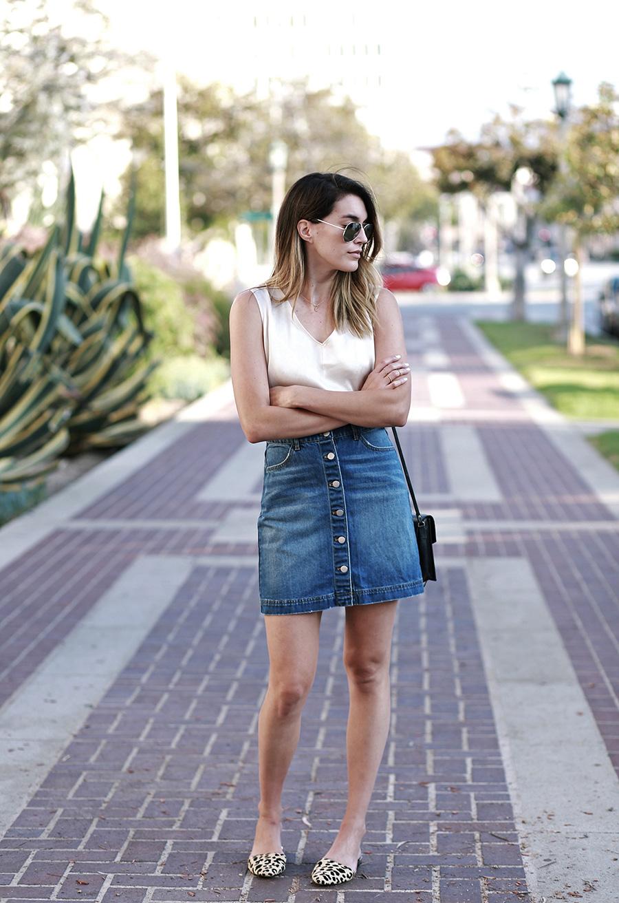 hm denim skirt forever21 blouse leopard flats 7