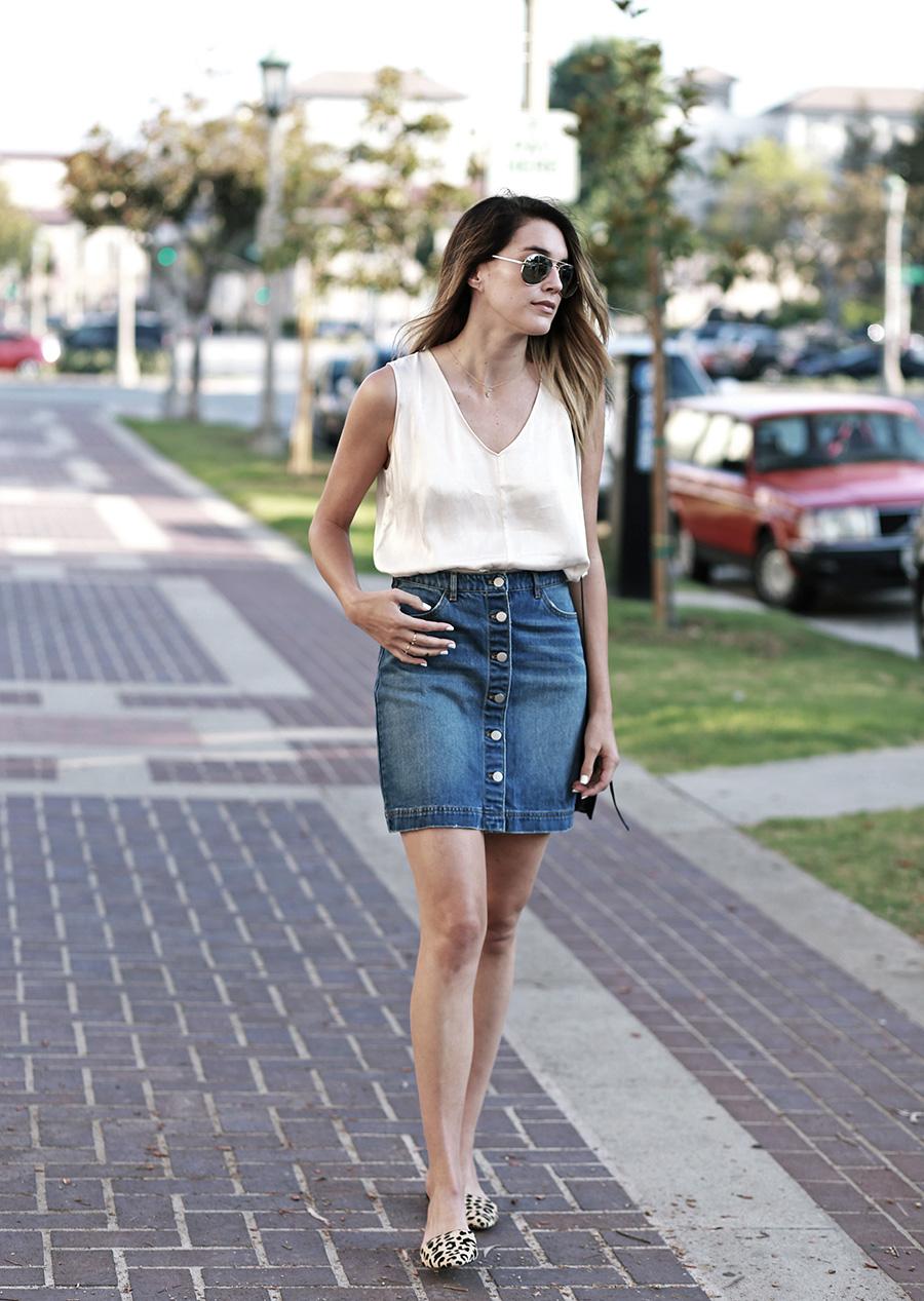hm denim skirt forever21 blouse leopard flats 9