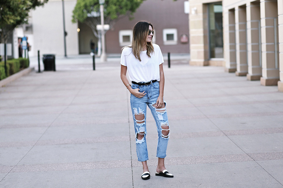 primary ny white tee shirt boohoo jeans forever21 slides 3
