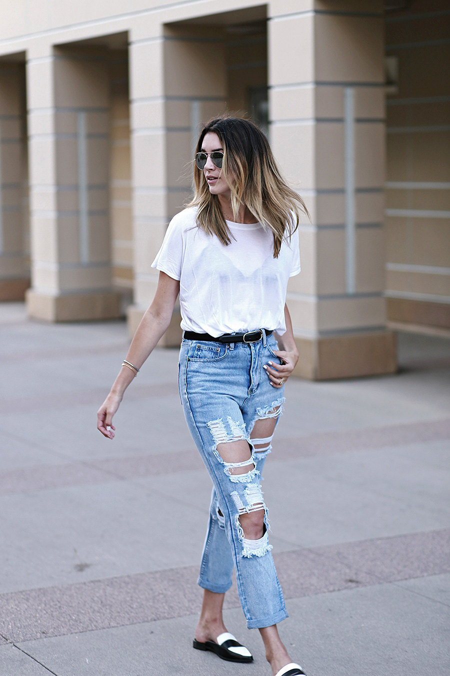 primary ny white tee shirt boohoo jeans forever21 slides 9