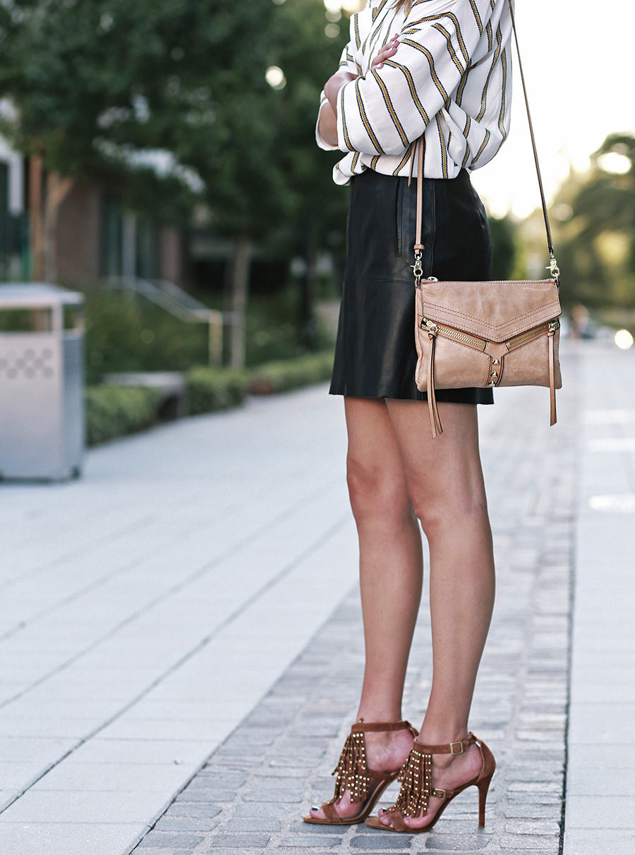 French Connection Leather skirt Aldo fringe heels Botkier Trigger Crossbody 4