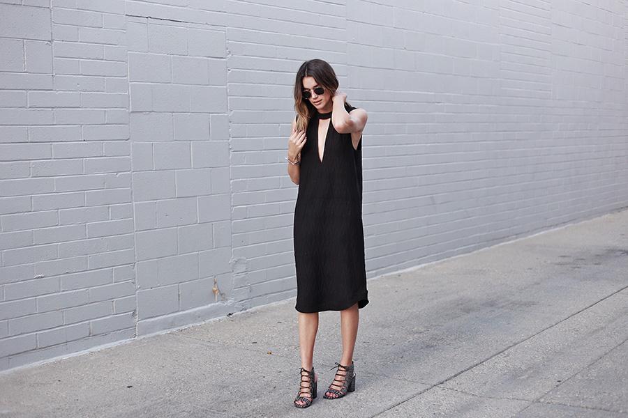 Ganni Jersey Dress Lace Up Heels Little Black Dress Thrifts and Threads