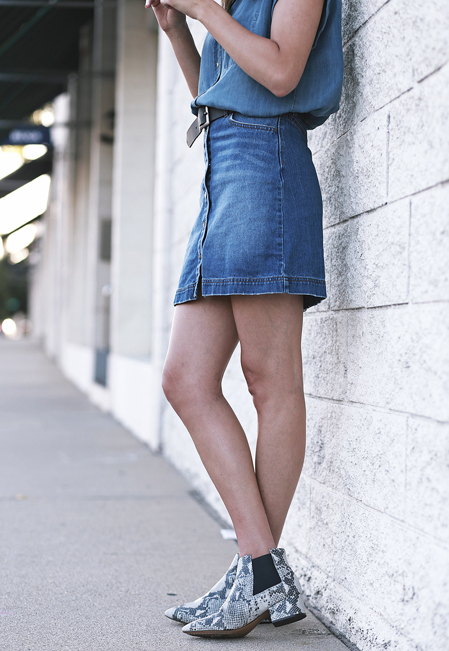 HM Denim Skirt Forever 21 Denim Shirt French Connection Snakeskin booties 5