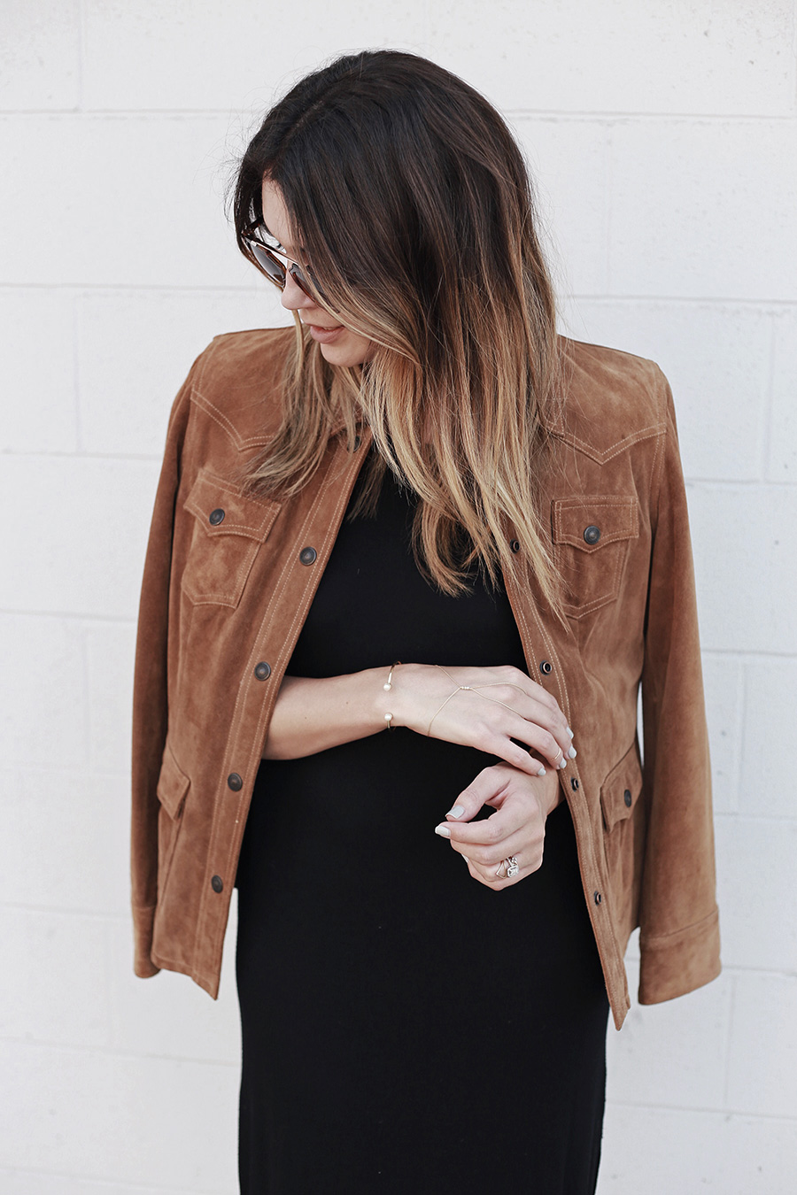 Ombre hair leather jacket black dress