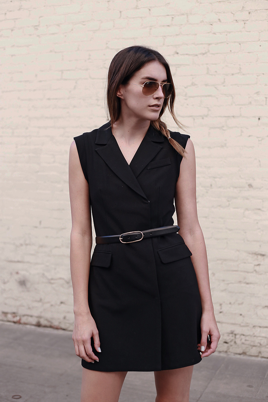 Ro & De Noir Black Dress, Vest, Belt, Leather Belt, Ray Bans, Aviators, Braids, Side Braid, brittanyxavier.com