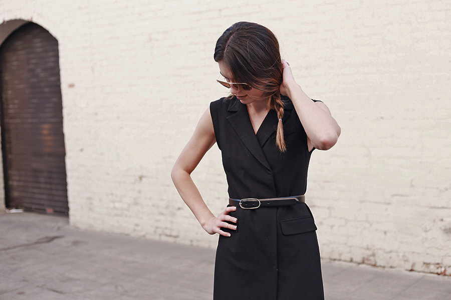 Ro & De Noir Vest Dress, Belted Dress, French Connection Snakeskin Booties, Side Braid, Aviator Sunglasses