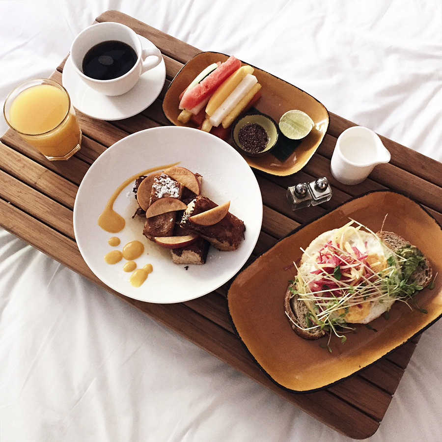 Room Service Breakfast in Bed Avocado Toast Avalon Hotel Palm Springs Chi Chis