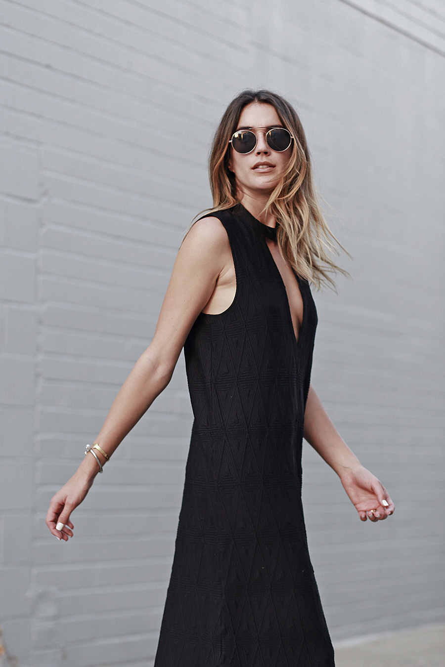 Round Sunglasses Little Black Dress Ombre Hair