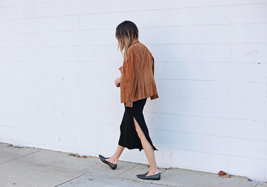 Suede Jacket Midi Dress Black Loafers