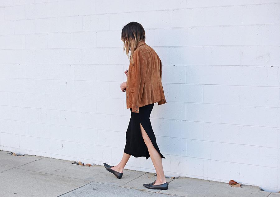 Suede Jacket Midi Dress Black Loafers