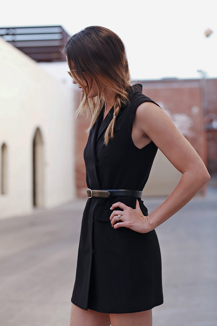 Thin Belt Dress, Fall Trends 2015, Vest Dress, Side Braid, Black Dress, Leather Belt