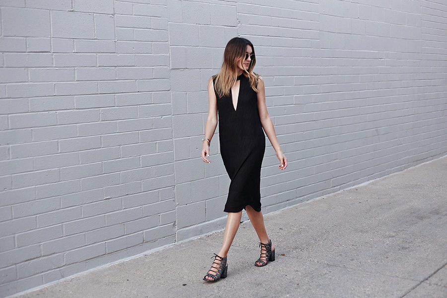 Thrifts and Threads Brittany Xavier Shift Dress Lace Up Heels