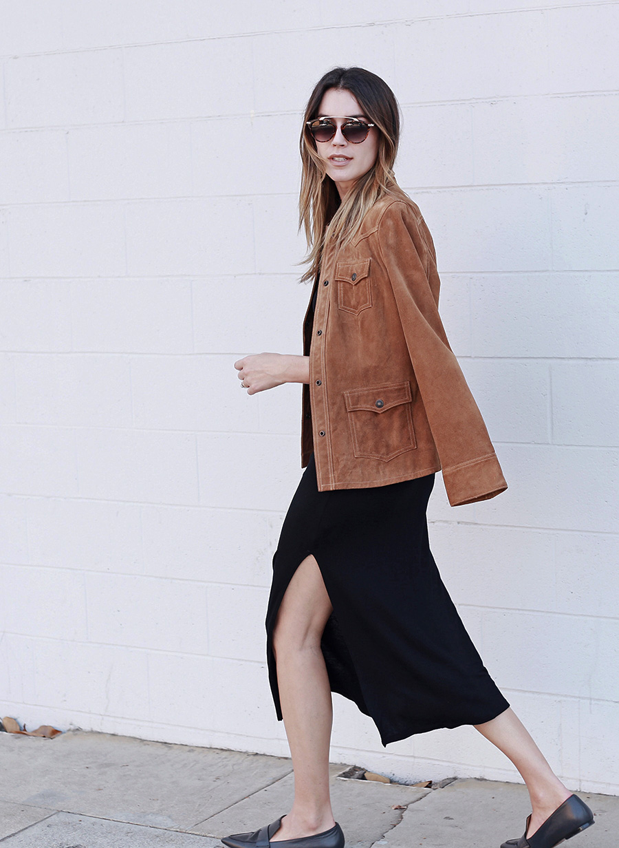 Vintage Suede Jacket Side Slit Dress Pointed Loafers