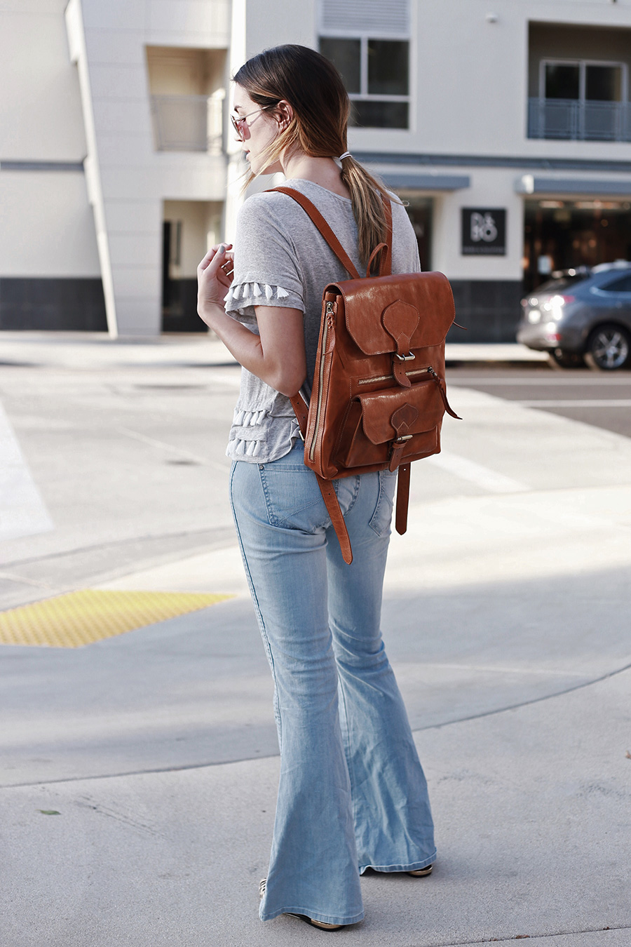 Modern leather backpack