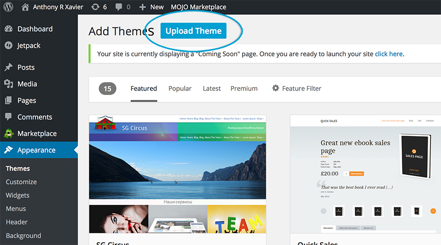 uploading a wordpress theme