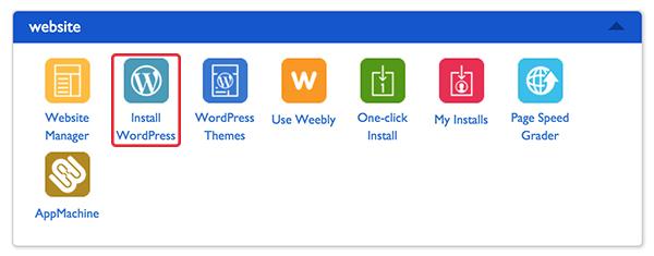 wordpress installation button