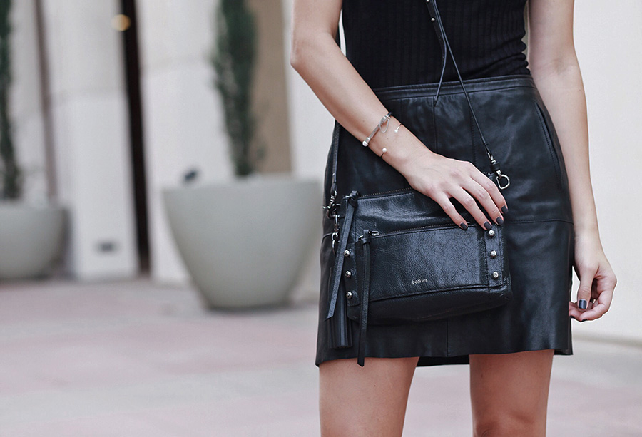 Botkier Leather Crossbody Leather Skirt