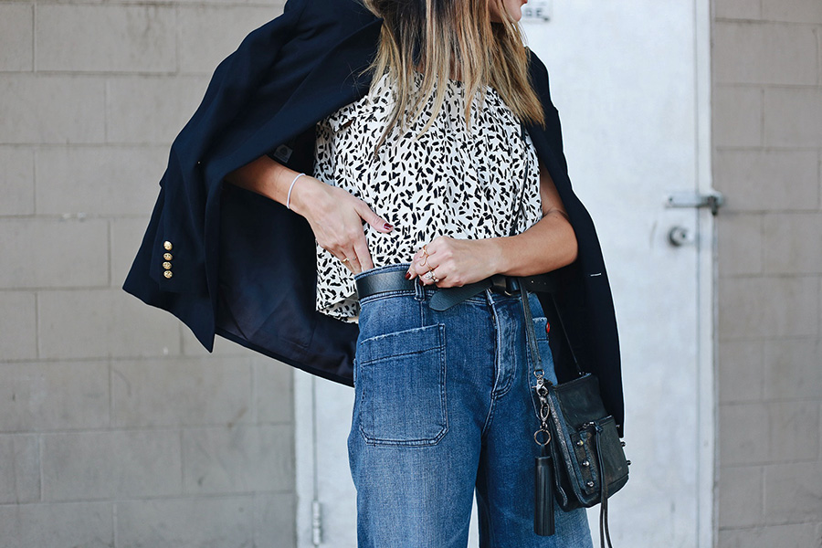 High Waisted Wide Leg Denim Trousers
