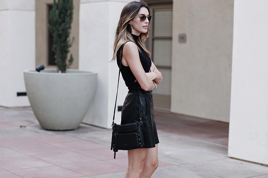 Mock Neck Turtleneck Tank Leather Skirt Fall 2015 Brittany Xavier brittanyxavier.com