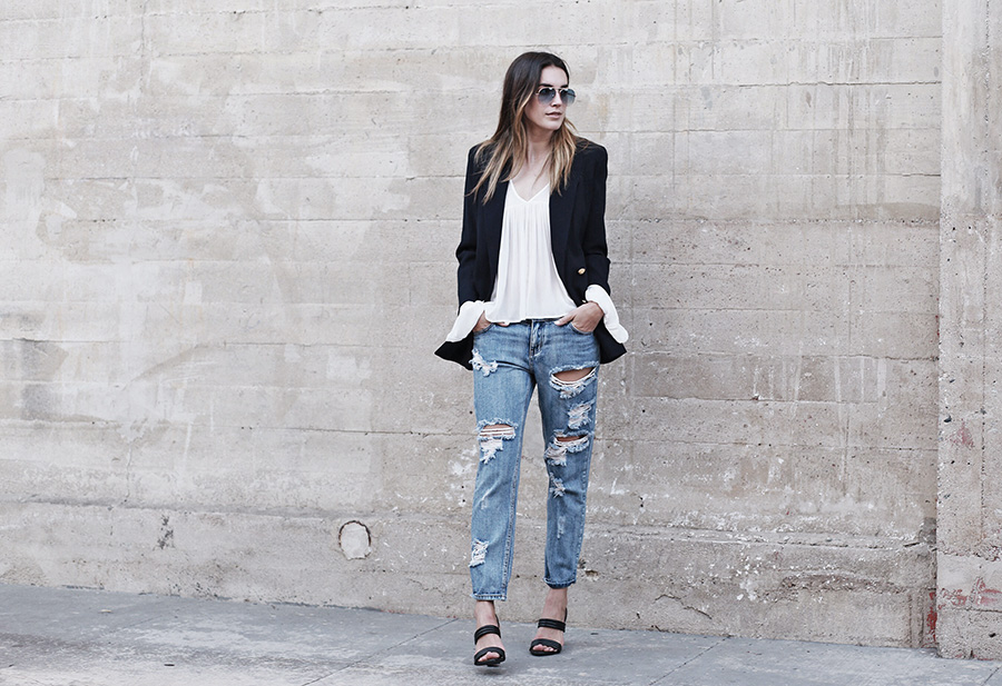 One Teaspoon Ripped Boyfriend Jeans Savers Thrift Store Blazer