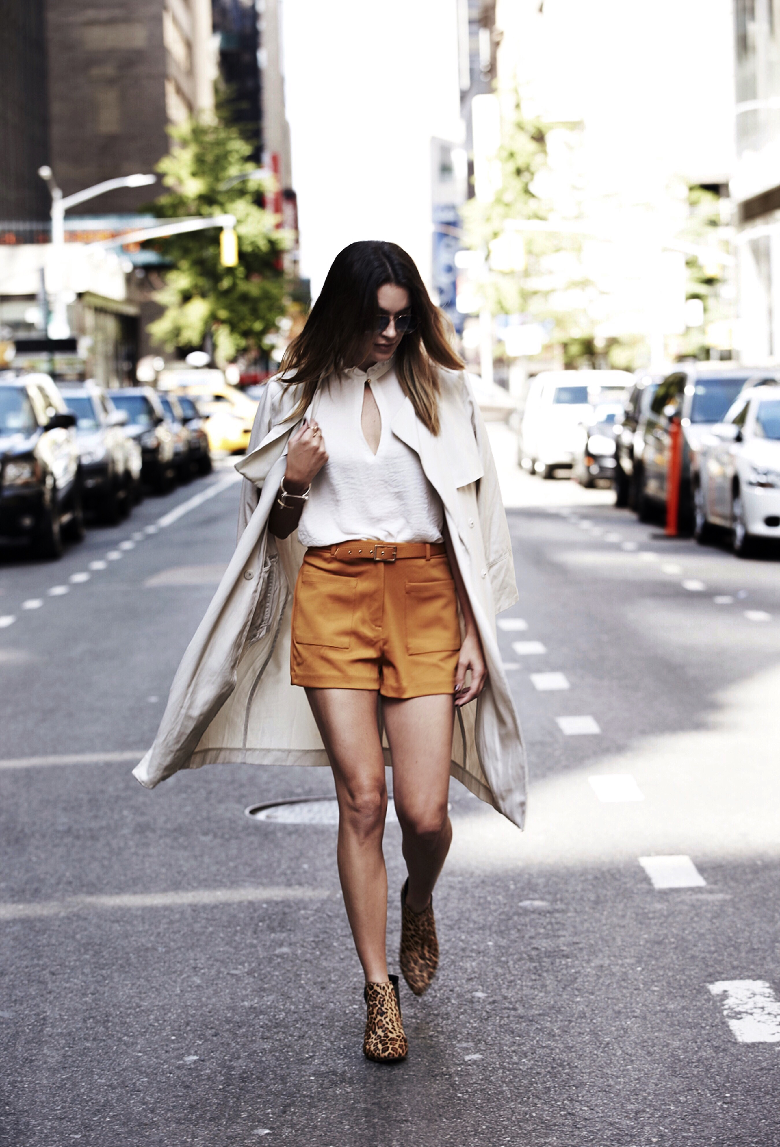 Forever 21 mustard shorts New York Fashion Week