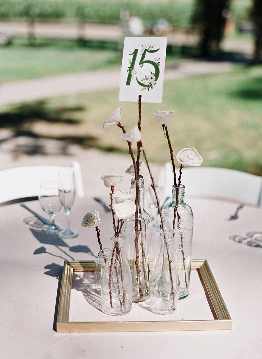 Wedding Table Numbers Glass Bottles Decorations
