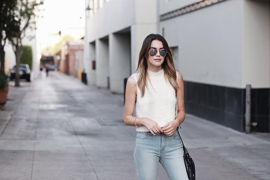 Fuzzy Sweater Pasadena Skinny Jeans